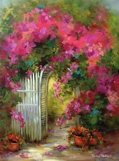 SOLD - Through the Gate Bougainvillea Garden - Plein Air and Flower Paintings by Nancy Medina, painting by artist Nancy Medina
