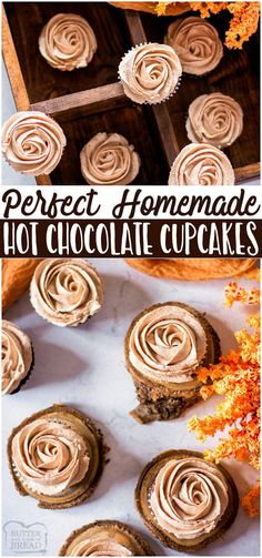 Hot chocolate cupcakes are soft chocolate cupcakes topped with hot chocolate buttercream for an indulgent