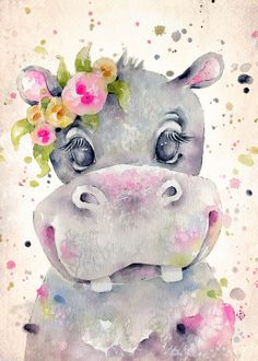 baby hippo See amazing artworks of Displate artists printed on metal. Easy mounting, no power tools needed. Baby Animal Drawings, Cute Drawings, Easy Drawings Of Animals, Watercolor Animals, Watercolor Paintings, Watercolour, Animal Posters, Poster Prints, Art Prints