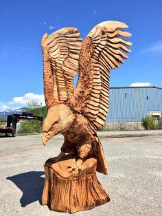 Woodcarved eagle.
