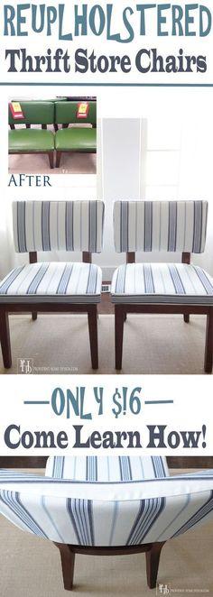 DIY Reupholstering a Chair Tutorial #ReupholsterChair