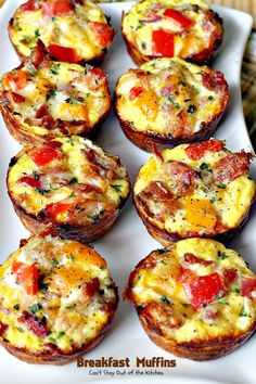 Breakfast Muffins make a savory, delectable holiday breakfast. Gluten free muffins contain bacon, eggs, cheese, bell peppers inside a hash brown crust.