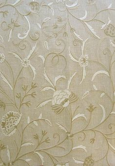 Kali Crewel Fabric Elegant tree-of-life design, embroidered in soft neutral shades of wool on linen.