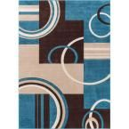 Ruby Galaxy Waves Blue 6 ft. 7 in. x 9 ft. 3 in. Modern Geometric Area Rug