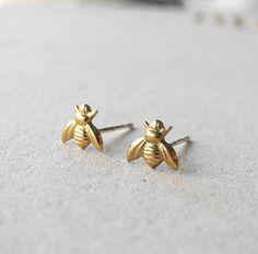 Bee Stud Earrings Insect Jewelry Brass Jewelry by MistyAurora