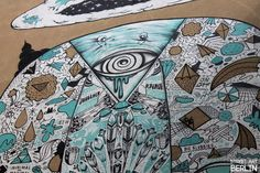 This Mural is an colaboration of: Mike Friedrich (Pyramid with eye), Johannes Mundinger from xXcrew (beard), Sam Crew: Hazard Hope (middle of the head), John Reaktor and Vogeljunge (beard); Wurstbande: (mouth and cheeks), Nonstop Nonsens (beard and head), Klub7 (siede of the head), Küsst euch mal (Hat). Special Thanks to HAZARD HOPE from Sam Crew! /www.streetartbln.com
