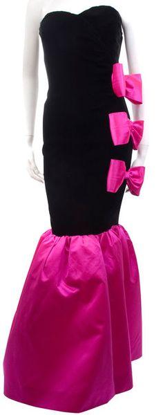 Givenchy - Robe de Cocktail Bustier - 3 Noeuds sur le Côté - Velours Noir et Soie Rose Fuschia - Années 80