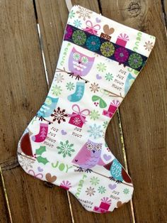 Owl Christmas Stocking     Etsy ♦ $25 I totally want this stocking! Super Cute!