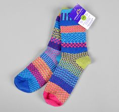 """""""Bluebell"""" Recycled Cotton Socks    Solmate socks are knit from recycled cotton yarns, which are created by grinding down and re-spinning scraps from the production of other cotton products, mainly t-shirts.    - 80% Cotton / 19% Nylon / 1% Lycra  - Made in the USA (Vermont)  $19.00"""