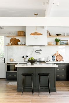 4 Lighting Ideas From Dream Home Makeover - Studio McGee Dark Green Kitchen, Green Kitchen Cabinets, Kitchen Reno, Kitchen Dining, Kitchen Remodel, Estudio Mcgee, Black Wooden Chairs, Makeover Studio, Open Concept Home
