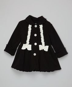 Another great find on #zulily! Black & Ivory Bow Swing Coat - Infant, Toddler & Girls by Mack & Co #zulilyfinds