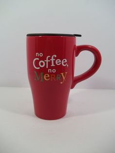 "HALLMARK CHRISTMAS TRAVEL MUG w/LID - ""NO COFFEE,  NO MERRY"" - Ceramic #Hallmark"