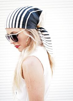 A scarf and Sunglasses, always looks better than a ball cap in the spring and summer on a woman, to cover a bad hair day