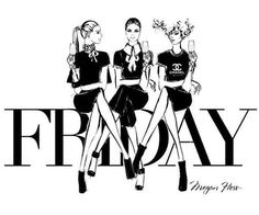 Megan hess illustration - friday mondays and fridays модные Megan Hess Illustration, Illustration Art, Bendy And The Ink Machine, Kerrie Hess, Its Friday Quotes, Girly Quotes, Fashion Sketches, Fashion Illustrations, Happy Friday