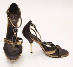 $17.99 LINEA PAOLO Brown Copper Strappy Evening Open Toe Sandal Shoes Sz 6.5 450362 #LineaPaolo #Strappy