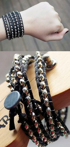 Lots of free downloadable jewelry tutorials  [pictured: DIY Chan Luu Inspired Metal Look Wrap Bracelelet Tutorial from Quiet Lion here.I've posted quite a few Chan Luu DIY knockoff bracelet...]