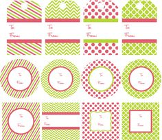 """free red and lime green christmas printables (2"""" circles and squares + gift tags)"""