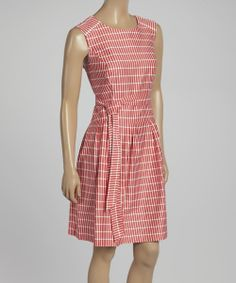 Take a look at the Coral & White Brick Drop-Waist Dress on #zulily today!