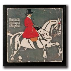Sidesaddle Rider Framed Wall Art. Natural tumbled Italian Botticino marble decorated with vintage equestrian art featuring red coated side saddle rider on high-school dressage horse. Presented on a deep black wood frame creating a sophisticated air.