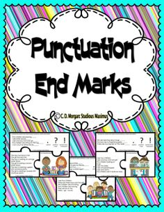 FREE!!! This product helps students correctly use end marks: period, question mark and exclamation mark/point. Students practice reading and matching descriptive sentences with a picture. Students are actively engaged in their learning while having fun with these puzzles. Each puzzle has three pieces: one with sentences missing end marks, one with descriptive sentences and one with a specific picture that matches the sentences.