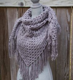 Free Crochet Triangle Scarf Patterns | Grey Shawl Triangle Scarf Hand Crocheted on Wanelo
