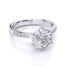 D/VVS1 Engagement Ring 3 Carat Round Cut 14K White Gold Bridal Jewelry by JewelryHub on Opensky