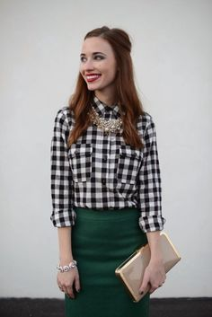 M Loves M - checks and emerald green pencil skirt