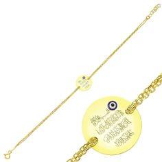 LC Silver 925 Altın Kaplama Nazar Duası Bileklik