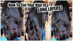 How To Cut Your Own Hair in Layers at Home │ DIY Layers for Long Hair - YouTube Diy Hair Layers, Layered V Cut Hair, Haircuts For Long Hair With Layers, Long Layered Haircuts, Haircut Layers, Hair Cutting Techniques, Trim Your Own Hair, Hair Trim, How To Cut Your Own Hair