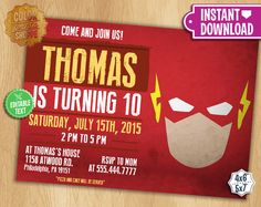 The Flash Invitation - EDITABLE TEXT - Customizable Superhero Printable Birthday Party Invite Flash Superheroes - Instant Download by ColorPrintsShoppe on Etsy https://www.etsy.com/listing/235437046/the-flash-invitation-editable-text