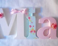 """Items similar to Nursery wooden wall letters in pink and gray nursery letters child's name 8 """" wall letters initial monogram on Etsy Wooden Letters For Nursery, Baby Name Letters, Letters For Kids, Letter A Crafts, Painted Letters, Wood Letters, Letter Wall, Monogram Letters, Hand Painted"""