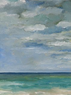 Green Sea Blue Skies  Original Seascape Oil by wendydoakart, $80.00