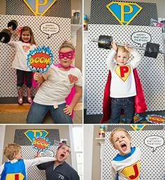 Vintage Pop Art Superhero Birthday Party // Hostess with the Mostess® Superhero Photo Booth, Diy Photo Booth, Photo Props, Photo Booths, Picture Booth, Picture Ideas, Photo Shoot, Superhero Birthday Party, Birthday Bash