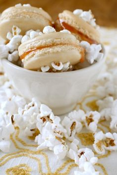 Salted Popcorn Caramel Macarons...I love everything in this title. However, the recipe requires a gram scale which I do not own ...
