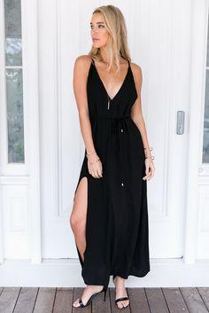 Black Plunge Side Split Maxi Dress