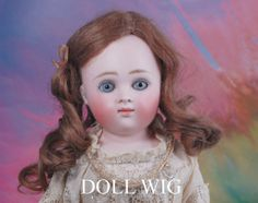 antique  long blonde doll wig | Antique mohair doll wig long brunette with ribbon & pate 6 1/2""
