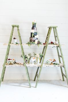 Okay if this duo of pastel green ladders don't take the cake for most creative dessert display EVER then we don't know what will . photo event styling and floral design venue bridal store jewelry hair makeup groom's attire wedding cake donuts rentals sta Beautiful Wedding Cakes, Perfect Wedding, Our Wedding, Wedding Stuff, Dream Wedding, Florida Wedding Venues, Wedding Vendors, Wedding Desserts, Wedding Reception Decorations