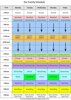 Family Homeschool Schedule idea - need to incorporate more fun and outside time, but this is a good basic structure.