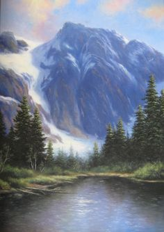 Mountain Landscape 24X36 Original Oil Painting - Vickie Wade art, mountain, paintings, wilderness, woods, lake.