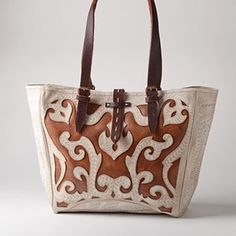 Scroll Cutout Tote with Saddle Straps by Leaders in Leather - what a gorgeous, cowgirl chic bag!
