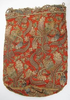 ~ Dramatic Embroidery Using Silk & Gold Metallic Threads On A Tobacco Pouch ~ (18th Century)