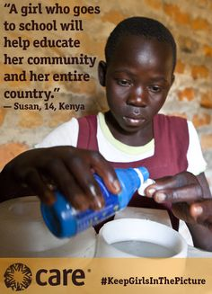Water is essential to life. And yet it could have kept Susan out of school for good. Help keep girls in the picture with CARE.