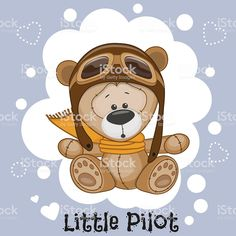 Illustration about Cute cartoon Teddy Bear in a pilot hat. Illustration of american, aviation, computer - 52352822