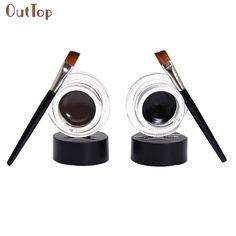 Beauty Girl 2Pcs Waterproof Long Lasting Eye Liner Gel Eyeliner Shadow Makeup Cosmetic Brush Brown & Black Color Aug5