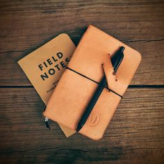 Handmade Leather Traveler's Notebook Cover, Midori Style Cover, Minimalist Notebook Jacket, Moleskine Cover, Field Notes Cover (Natural) by MonolithLeatherGoods on Etsy https://www.etsy.com/listing/255061100/handmade-leather-travelers-notebook