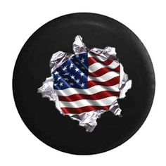 Vintage American Red White /& Blue Flag Shield with American Eagle Spare Tire Cover Black 30 in Pike Outdoors