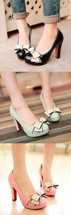 Tendance chausseurs : Heels with Bowknot - 2019 Pretty Shoes, Beautiful Shoes, Cute Shoes, Me Too Shoes, Mode Vintage, Vintage Shoes, Shoe Boots, Shoes Heels, Pumps