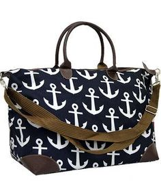 Overnight bag/Monogrammed Anchor  weekender bag/Personalized Large Navy weekeneder/Shopping Bag/Tote Bag/monogram bridesmaid gift by sewsassybootique on Etsy