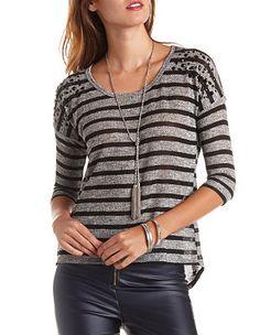 Button-Up Back Striped Rhinestone Sweater: Charlotte Russe