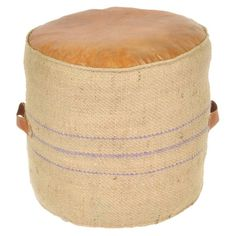 Jute pouf with leather detail.Product: PoufConstruction Material: Canvas and leatherColor: Multi